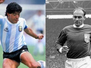 Foto- Diego Armando Maradona y Alfredo Di Stefano, dos volantes ofensivos en la nominación internacional..jpg