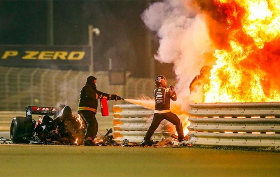 Grosjean se salvó tras un terrible accidente en la Fórmula 1