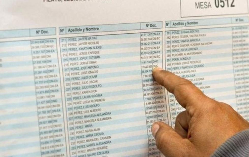 Desde este domingo están disponibles los padrones provisorios para las legislativas