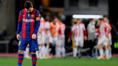 Foto- Messi fue expulsado y el Barcelona no pudo ante el Atletic de Bilbao..jpg