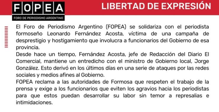 FOPEA se solidarizó con Leonardo Fernández Acosta